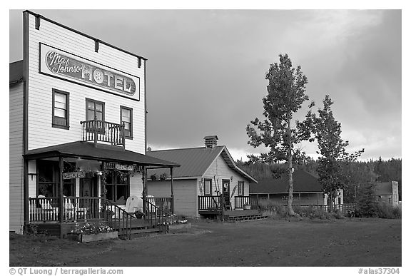 Ma Johnson  hotel at sunset. McCarthy, Alaska, USA (black and white)