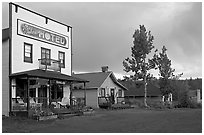 Ma Johnson  hotel at sunset. McCarthy, Alaska, USA ( black and white)