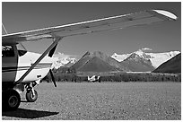 Mc Carthy airport. McCarthy, Alaska, USA (black and white)