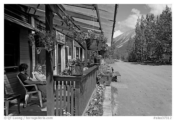 McCarthy lodge and main street. McCarthy, Alaska, USA (black and white)
