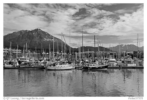 Yachts in harbor. Seward, Alaska, USA (black and white)