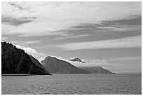 Mountains with low clouds outside Resurrection Bay. Seward, Alaska, USA ( black and white)