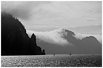 Glistening water, fog, and boats, Resurrection Bay. Seward, Alaska, USA ( black and white)