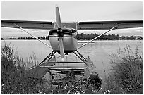Floatplane on Lake Hood. Anchorage, Alaska, USA (black and white)