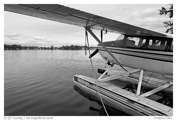 Float plane on Lake Hood. Anchorage, Alaska, USA (black and white)