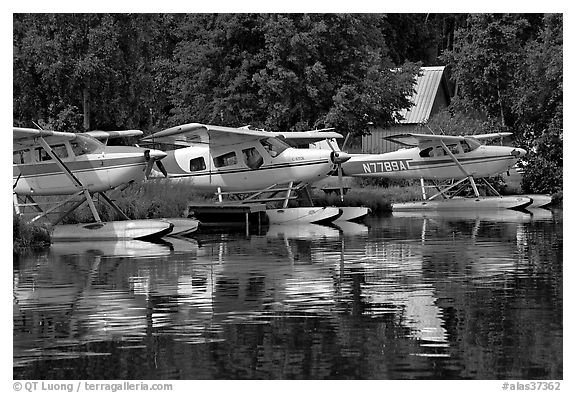 Float planes on Lake Hood, the largest float plane base in the world. Anchorage, Alaska, USA (black and white)