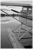 Seaplane moored on Lake Hood. Anchorage, Alaska, USA ( black and white)