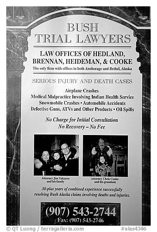 Advertisement for a local law firm. Kotzebue, North Western Alaska, USA (black and white)