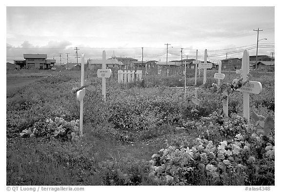 Cemetery. Kotzebue, North Western Alaska, USA (black and white)