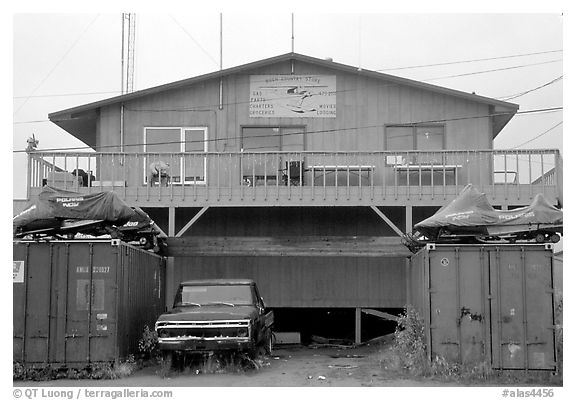 Bush store in Kiana. North Western Alaska, USA (black and white)