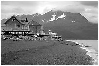 Houses on the beach at Lowell Point. Seward, Alaska, USA ( black and white)