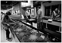 Tourist checks tidepool exhibit, Alaska Sealife center. Seward, Alaska, USA ( black and white)