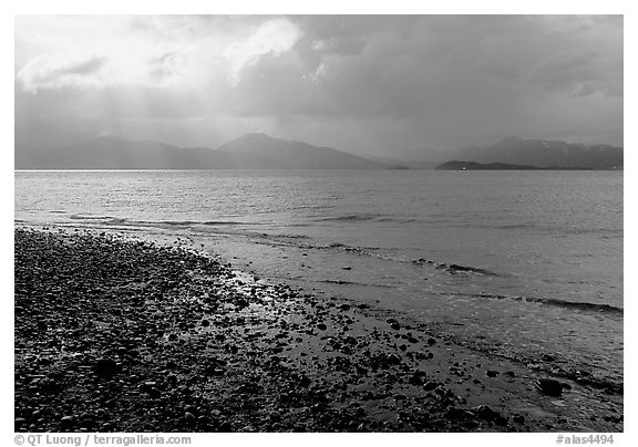 Katchemak Bay from the Spit, Kenai Mountains in the backgound. Homer, Alaska, USA (black and white)