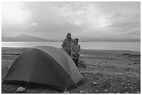 Camping on the Spit. Homer, Alaska, USA (black and white)