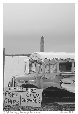 Seafood bus. Homer, Alaska, USA (black and white)