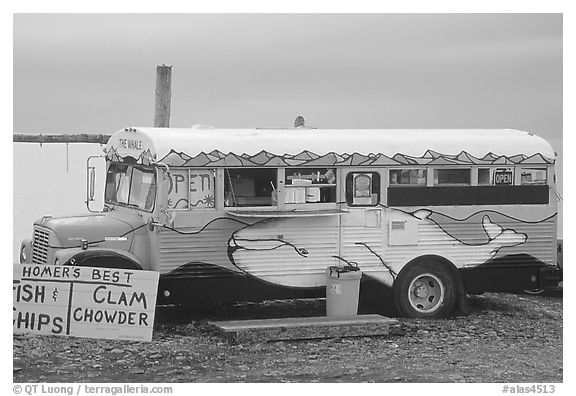 Fast food bus, local style. Homer, Alaska, USA (black and white)