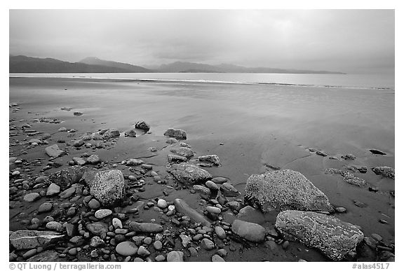 Sandy beach, rocks, and stormy skies on the Bay. Homer, Alaska, USA (black and white)