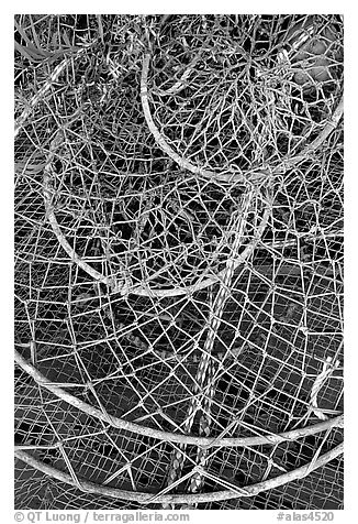 Fishing nets. Homer, Alaska, USA (black and white)