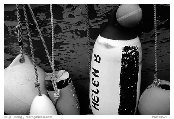 Buoys hanging on the side of a boat. Homer, Alaska, USA (black and white)