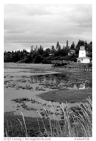 Lighthouse at low tide. Homer, Alaska, USA (black and white)