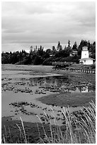 Lighthouse at low tide. Homer, Alaska, USA ( black and white)