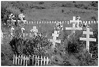 Russian orthodox cemetery. Ninilchik, Alaska, USA (black and white)