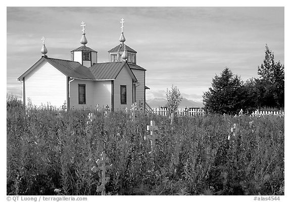 Old orthodox Russian church. Ninilchik, Alaska, USA (black and white)