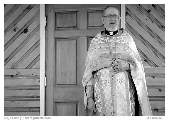 Orthodox priest. Ninilchik, Alaska, USA (black and white)