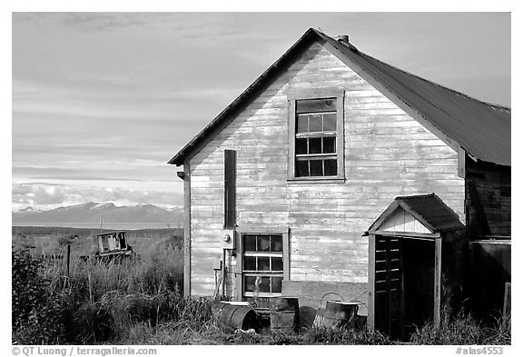 Old wooden house in  village. Ninilchik, Alaska, USA (black and white)