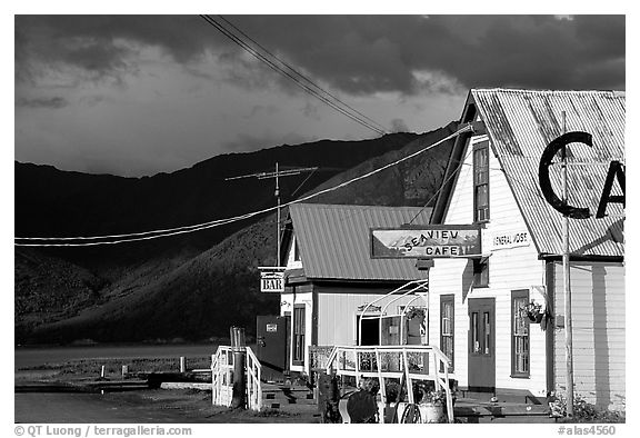 Village with stormy skies. Hope,  Alaska, USA (black and white)