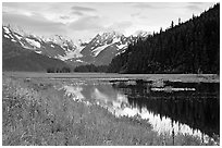Chugatch Mountains reflected in pond near Portage. Alaska, USA (black and white)