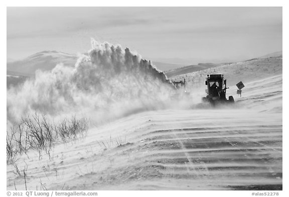 Snowplows and spindrift, Twelve Mile Summmit. Alaska, USA (black and white)
