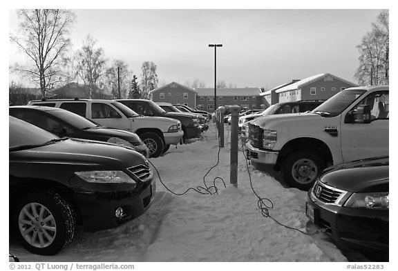 Cars with block engine heaters connected to plugs. Fairbanks, Alaska, USA (black and white)