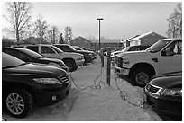 Cars with block engine heaters connected to plugs. Fairbanks, Alaska, USA ( black and white)