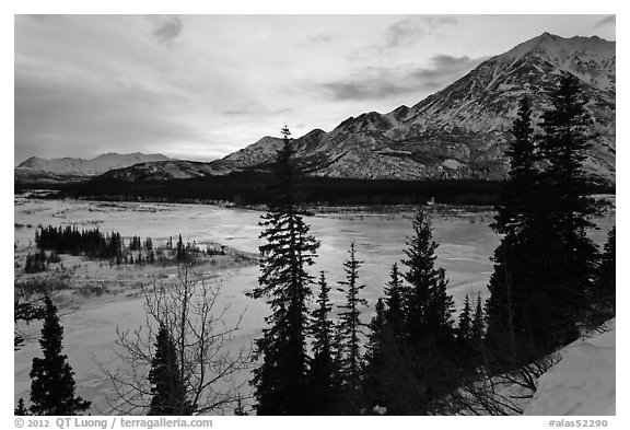 Winter sunset over Nenana River. Alaska, USA (black and white)