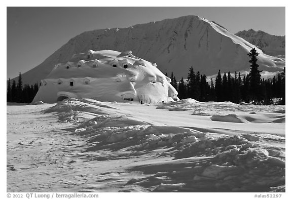 Winter landscape with igloo-shaped building. Alaska, USA (black and white)