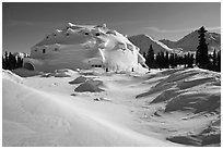 Igloo-shaped building in snowy landscape. Alaska, USA ( black and white)