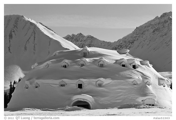 Snow-covered dome-shaped building. Alaska, USA (black and white)