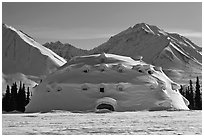 Snowy dome-shaped building and mountains. Alaska, USA ( black and white)