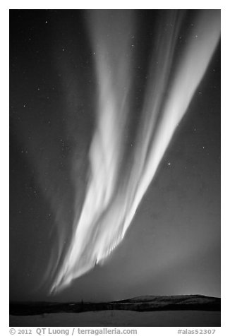 Aurora Borealis, Cleary Summit. Alaska, USA (black and white)