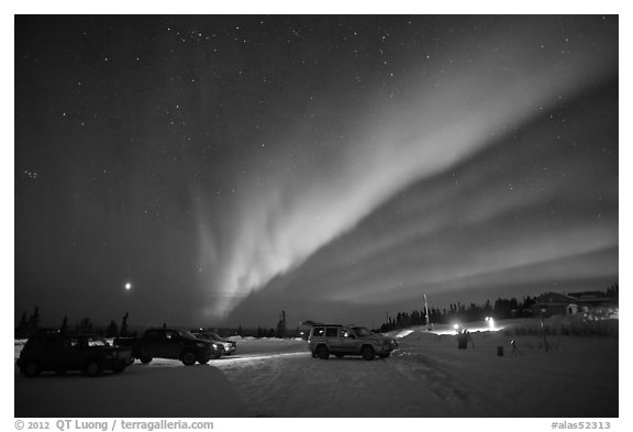 Viewing the Northern Lights at Cleary Summit. Alaska, USA (black and white)