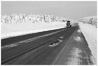 Dalton Highway bordered by snow-covered trees. Alaska, USA (black and white)