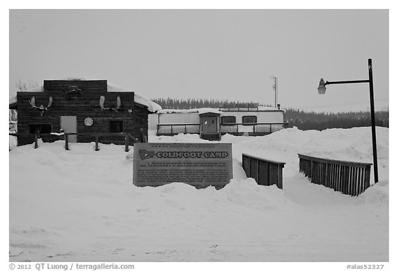 Coldfoot Camp in winter. Alaska, USA (black and white)