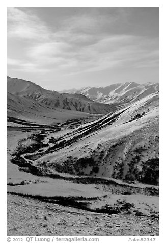 Brooks Range from Atigun Pass. Alaska, USA (black and white)