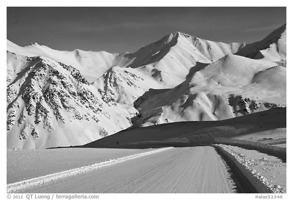 Frozen Dalton Highway, Atigun Pass. Alaska, USA (black and white)