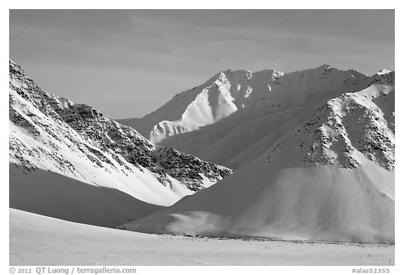 Arctic Mountains in winter. Alaska, USA (black and white)