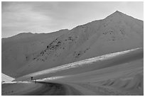 James W Dalton Highway at its highest point at Atigun Pass. Alaska, USA (black and white)