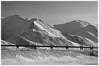 Trans Alaska Pipeline and snow-covered mountains. Alaska, USA ( black and white)