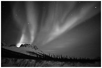 Aurora Borealis and starry night sky, Brooks Range. Alaska, USA (black and white)