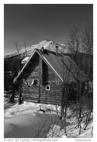 Log cabin in winter. Wiseman, Alaska, USA (black and white)